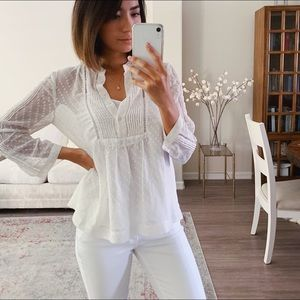 Madewell White Polka Dot Sheer Blouse Small